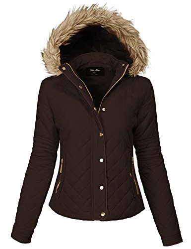 Comfortable Fur Trim Hood Quilted Padding Jackets 140-brown Medium