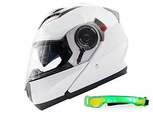NATHUT Motorradhelm Klapphelm mit LED-Licht   Fullface Helm   Integralhelm mit Sonnenblende   Motorrad Helm   Weiß   ECE…