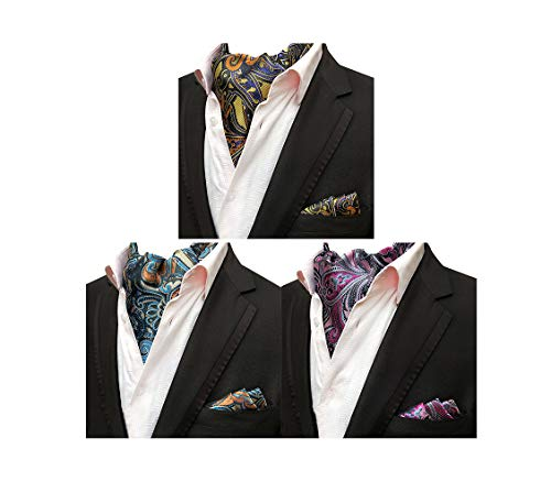MOHSLEE Mens Luxury Paisley 3 Pack Cravat Silk Ascot Scarf Tie Pocket Square Set