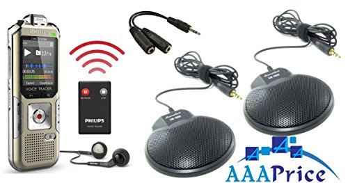 Digital Stereo Conference Recorder Kit with two Omni-Directional Conference Microphone and wireless remote control, ideal for recording Conferences, Meeting, conversations, lectures and interviews, Complete Digital Conference recording system for all recording purposes