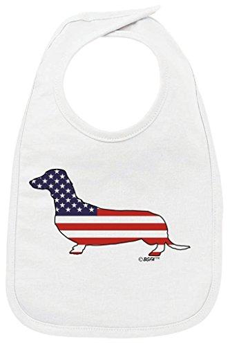 Baby Registry Gifts Patriotic Daschund Doxen Doxie Puppy Dog Baby Bib White