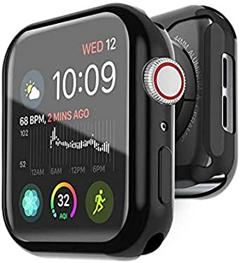 2PCS Case for apple Watch Series 4 & Series 5 TPU Clear Screen Protector 44mm- all around Protective Case High Definition Clear Ultra-Thin Cover 44mm (black)