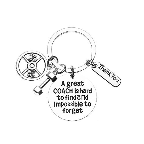 Sportybella Trainer, Fitness Great Coach is Hard to Find But Impossible to Forget Keychain, No Excuse Exercise Keychain, Weighted Barbell Dumbbell Charm, Workout Gifts.jpg - Latin Quote Keychain