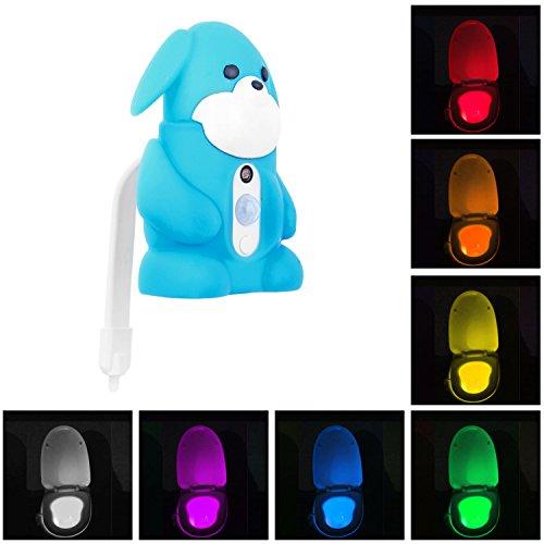 Night Toilet Light,Bigaint Creative Light Sensitive 8 Color Led Night Light with Carton Case-Blue
