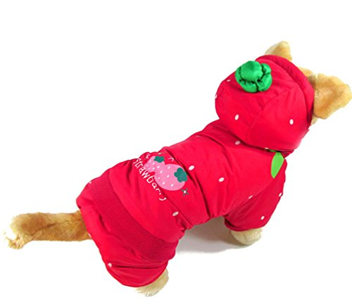 SMALLLEE_LUCKY_STORE XY000133-S Small Dog Strawberry Hoodie Costume Coat Outfit, Red, Small -