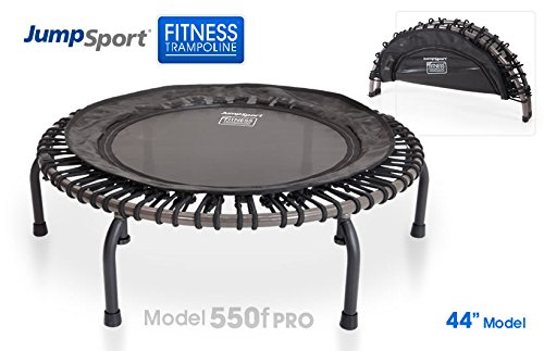JumpSport 550F PRO | Folding Fitness Trampoline | Easy Transport | Fitness Professionals' First Choice | Stable Non-Tipping Arched Legs | Top Rated Quality & Durability | 4 Music Workout Vids Incl.