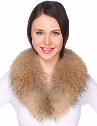 Ferand Women's Detachable Genuine Raccoon Fur Collar Scarf for Parka Jacket Winter Coat in Light Natural Color,31.5 inch by Ferand