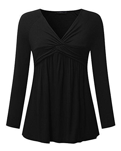 StyleDome Mujer Camiseta Blusa Mangas Largas Casual Elegante Algodón Oficina Playa Cuello Pico Negro
