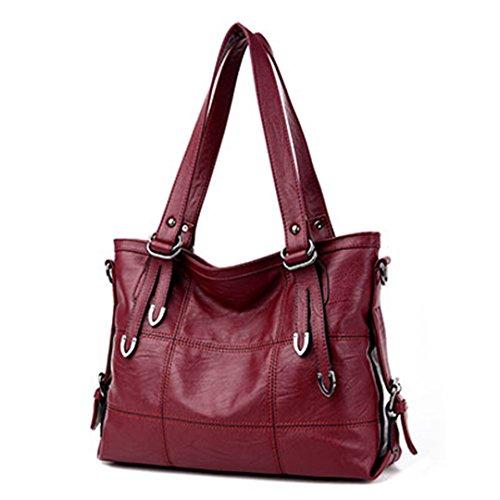 Designer Plaid Women's Leather Handbags Big Casual Tote Bag Ladies Shoulder Bag Woman Double Arrows burgundy 35x13x25cm (Burgundy Pendant Mini)