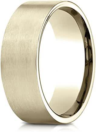 Benchmark 18K Yellow Gold 8mm Comfort-Fit Satin-Finished Carved Design Wedding Band Ring (Sizes 4 - 15 )
