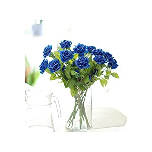 10pcs/lot Real Latex Touch Moisturizing Rose Artificial Flowers Wedding Bouquet Home Party Design Flowers Decor Party Supplies,Blue 28