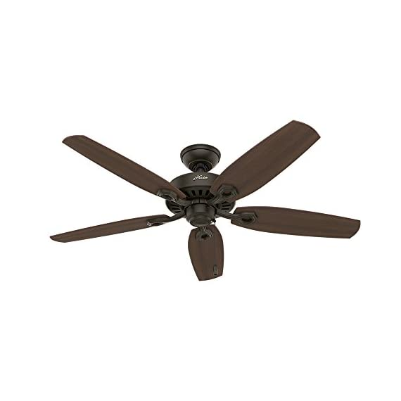 "Hunter builder elite indoor ceiling fan with pull chain control, 52"", new bronze 3 classic ceiling fan: the traditional builder elite traditional fan comes with harvest mahogany reversible blades that will keep home interior and exterior current and inspired; measures 52 x 52 x 11. 27 inch multi-speed reversible fan motor: whisper wind motor delivers ultra-powerful airflow with quiet performance; change the direction from downdraft mode during the summer to updraft mode during the winter pull chain control: turn the bronze ceiling fan on/off and adjust the speed quickly and easily with the pull chains"