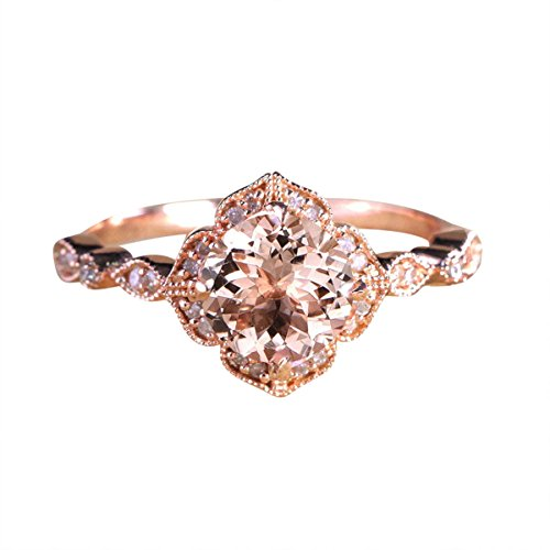 Limited Time Sale Antique Design 1.25 Carat Peach Pink Morganite (Round Shaped) and Diamond Engagement Ring in 10k Rose Gold Jewelry