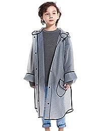 Kids Transparent Boys Clear Raincoat Rain Poncho Hooded Outdoors Waterproof Rainwear Gray