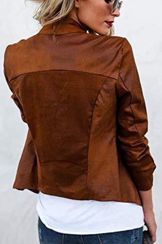 Giacca Corto Bavero Con Brown Cardigan Battercake Lunga Cappotto Autunno Vintage Camoscio Casual Primaverile Donna Cerniera Donne Moda Outerwear Eleganti Casuale Manica 4wwYqBUz7