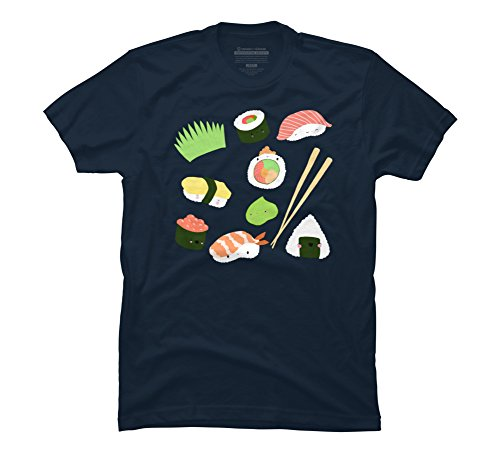 - Design By Humans Sushi TIME! Men's 2X-Large Navy Graphic T Shirt