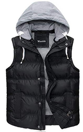Wantdo Women's Quilted Padding Puffer Vest Outwear With Removable Hood US Medium Black - Jersey Quilted Vest