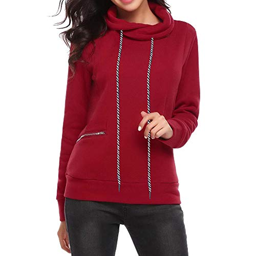 HULKAY Halloween Women Tops Sale Clearance Long Sleeve Stand Collar Neck Pure Color Zipper Pocket Blouse Coats Outerwear(Red,XL)