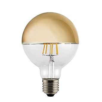 CristalRecord Bombilla LED, Luz Cálida E27, 6 W, Dorado 125 x 180 mm: Amazon.es: Iluminación