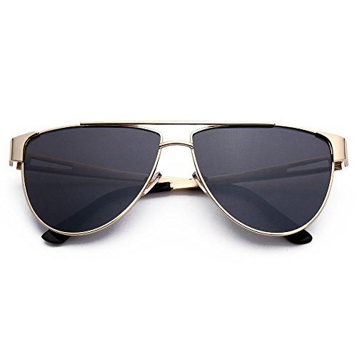 Menton Ezil Mens Military Style Aviator Metal Frame Mirrored Lens Classic Oversized Sunglasses