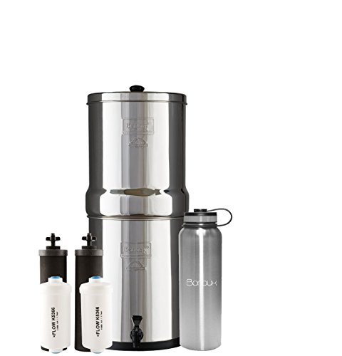 Royal Berkey Water Filter System includes Black Filters and Fluoride Filters (3 Gallon) bundled with Boroux 40 oz Stainless Steel Double Wall Bottle by Boroux