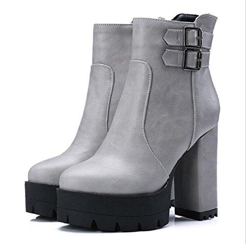 Primavera y otoño gruesas suelas impermeabilizan botas de plataforma con hebilla de la cremallera lateral tacones que botas de Martin gray