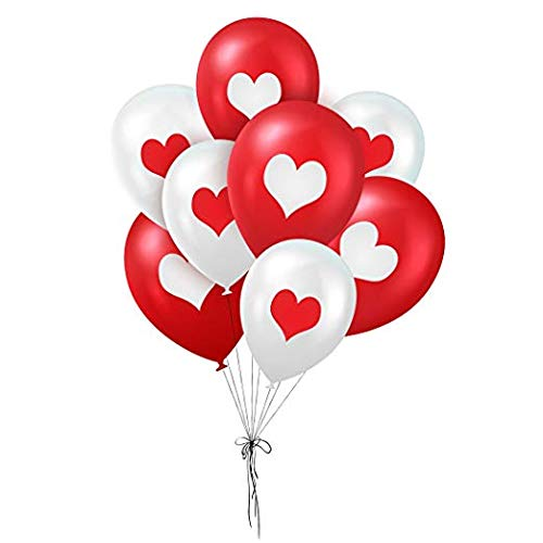 Valentine Hearts Balloons - 2 Colors of Love: Red & White - Creates Romantic Atmosphere - 40 Metallic Latex Balloons - with Heart-Shaped Print - Celebrate Heart's Day with Loved One ()