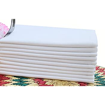 Cloth Dinner Napkins Optical White Color -100% Cotton ,set of 12 Pieces,Over sized 20x20Inch mitered corner finish for Every Day Use By Linen Clubs.