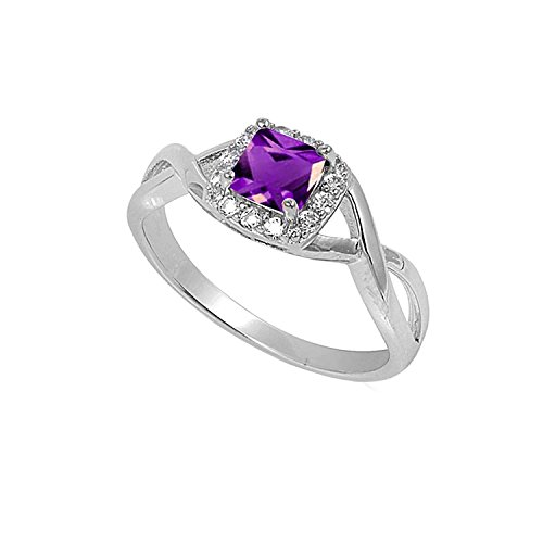 Blue Apple Co. Solitaire Infinity Shank Ring Simulated Amethyst Princess Cut 925 Sterling Silver,Size-6