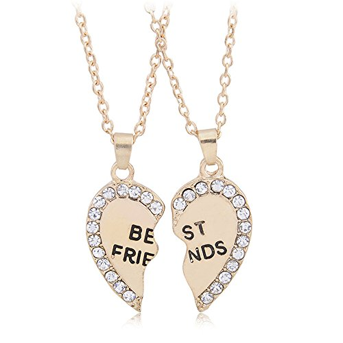 Two Tones Available BFF Best Friend 2 Pieces Heart Split Puzzle Pendant Necklace (Cute Bff Costumes)