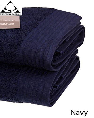 Pair of JUMBO NAVY BLUE Prestige 'Luxor' Egyptian Cotton 650gsm Bath Sheets...