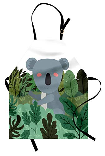 Lunarable Koala Apron, Cartoon Koala in The Jungle Outdoors in Tropical Australia Wilderness Rainforests, Unisex Kitchen Bib Apron with Adjustable Neck for Cooking Baking Gardening, Multicolor -