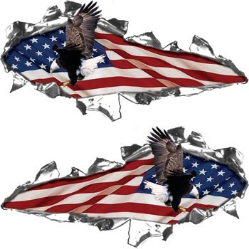 Torn Flag (Ripped / Torn Metal Look Decals American Flag with Flying Eagle - 6