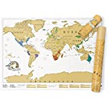 Scratch Map Original Scratch off Map, Personalized World Travel Map Poster with countries, states, cities, Manufactured in the UK