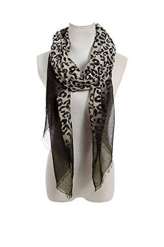 Lucky Leaf Women Long Soft Lightweight Leopard Printed Scarf Shawls Wraps With Rhinestone (Leopard)