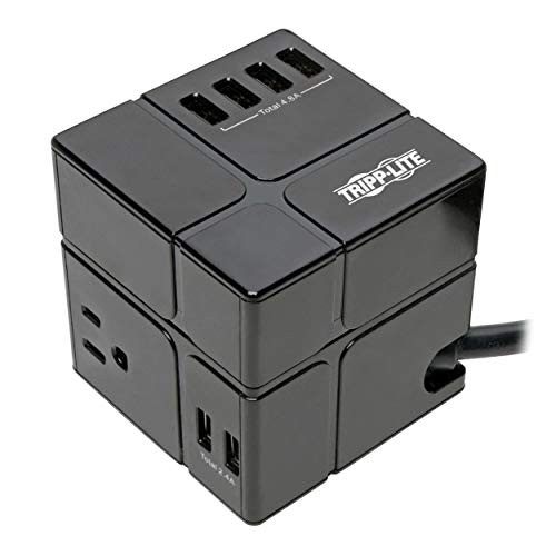 Tripp Lite 3 Outlet Surge Protector with USB, Detachable Wall Outlet Surge Protector, 6 USB Ports, 6 ft. Cord, 540 Joules, Black, $50, 000 Insurance (TLP366CUBEUSBB)