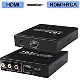 HDMI to RCA and HDMI Converter, HDMI to AV 3RCA and HDMI Adapter Support 1080P, PAL, NTSC for HD TV and Older TV