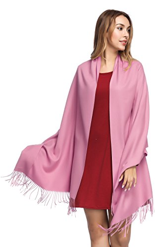 Pashmina Shawls and Wraps for Women - PoilTreeWing Solid Color Cashmere Scarfs(Pink - Thin Scarf Wool Wrap