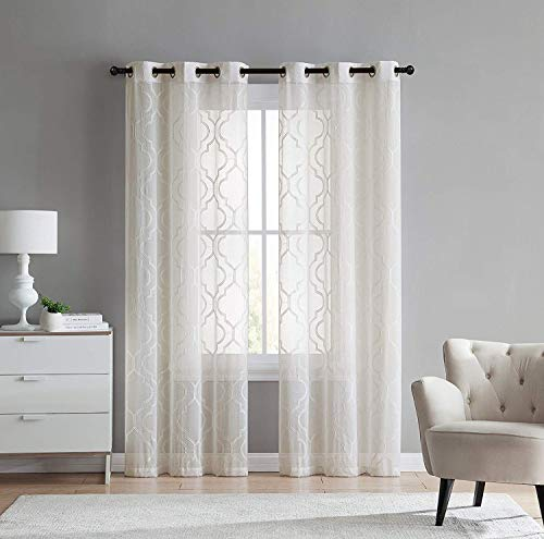 2 Pack: VCNY Home Charlotte Embroidered Quatrefoil Trellis Semi Sheer Curtain Panels - Assorted Colors & Sizes (96 in. Length, Beige)