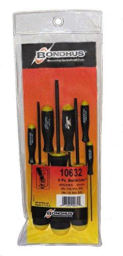 Juego de 8 destornilladores de destornillador Bondhus 10632, acabado ProGuard, tamaños .050-5 /32 pulgadas