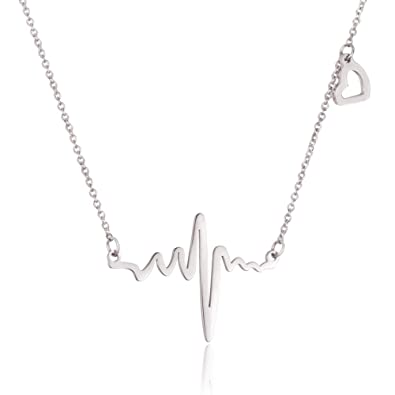 91f176d40 WDSHOW Stainless Steel Heartbeat Love Cardiogram with Heart Necklace  Silver-Tone