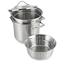 Calphalon Contemporary Stainless 8-Quart Pot with Glass Lid and 2 Inserts