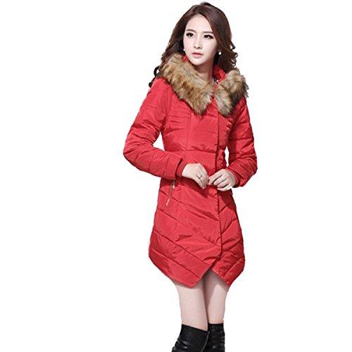 Solapa Mujeres Con Capucha Cuello De Piel Abrigo Largo De Varios Colores Algodón De Varios Tamaños Red