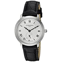 Frederique Constant Women's 'Slimline Ladies' Swiss Quartz Stainless Steel and Leather Casual Watch, Color:Black (Model: FC-235M1S6)