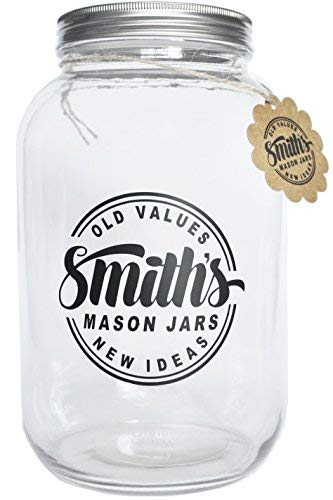 Smith's Mason Jars 1 Gallon Glass Jar Ideal Cookie Jar with Plastic and Metal Lids – Ideal for Kumbacha, Kitchen & Dining, Brewing & Fermentation Fermenters, and Canning Jars