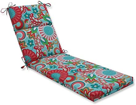 Pillow Perfect Outdoor Indoor Sophia Chaise Lounge Cushion, 72.5 x 21 , Turquoise Coral