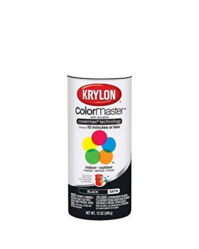Krylon 51613 Satin Black Interior and Exterior Decorator Paint - 12 oz. Aerosol (Colormaster Krylon Spray Paint)