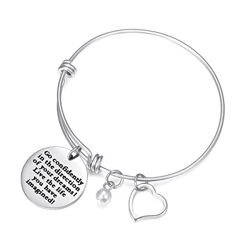 graduation gifts Charm Bracelet Adjustable Bangle Gift For Women Girl Go Confidently in the Direction of Your Dreams Live the Life You Have Imagined bracelet ()