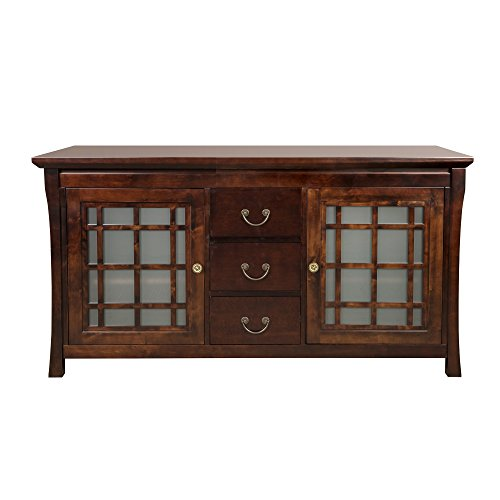 RONBOW Kozo 60 Inch Living Room / Bathroom Furniture in Vintage Walnut, Wood Cabinet with Three Drawers, Wood Countertop, (Four Drawers Double Sink Vanity)