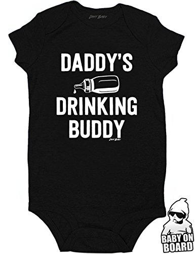 Daft Baby Daddy's Drinking Buddy Funny Baby Onesie Baby Shower Gift Black (Newborn) (Gifts Onesie Infant)